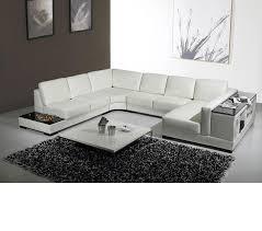 U Shaped Couch Living Room Furniture Dreamfurniturecom Divani Casa T75 Modern Leather Sectional Sofa