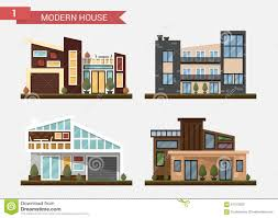 family home office. Download Vector Flat Illustration Traditional And Modern House. Family Home. Office Building. Private Home