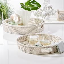 s 3 artis white rattan round serving trays