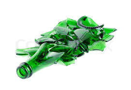 Shattered green champagne bottle ... | Stock image | Colourbox