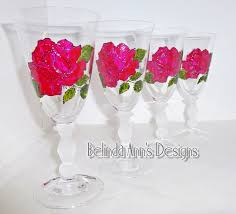 a set of 4 red rose hand painted wine goblets