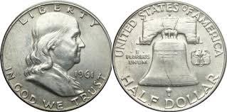 1961 Half Dollar Value Chart 1961 D Franklin Half Dollar Silver Coin Values