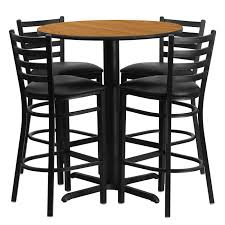 36 round black laminate table set with 4 grid back metal
