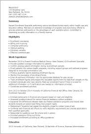 Enrollment Specialist Resume Example Health Claims Specialist Resume ...
