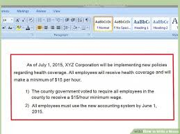 Email Memorandum Format How To Write A Memo With Pictures Wikihow