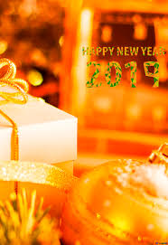 greeting card with happy new year 2019