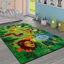 Paco Home Kinderteppich Kinderzimmer Dschungel Tiere Giraffe Giraffe