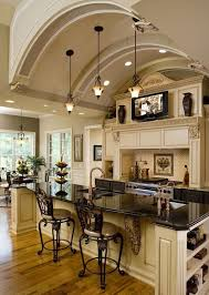 lights arch ceiling kitchen island and tv