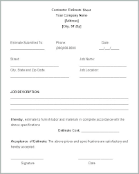 Sample Estimate Forms For Contractors Estimate Form Template Contractor Quote Forms Template Quote
