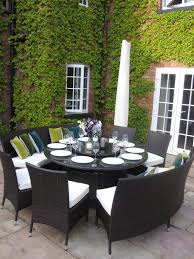 large round wooden garden table and chairs trends with outdoor dining pictures alluring grove plans