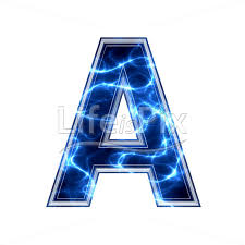 Blue Letters 3d Capital Letter With Blue Lightning Texture On White Background A
