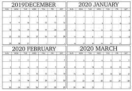 December 2019 To March 2020 Calendar Sheets 2019 Calendars