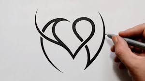 V Letter Design Combining Initials A And V With A Heart Tattoo Design