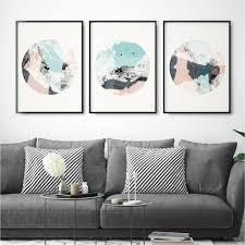 set of three abstract wall art prints