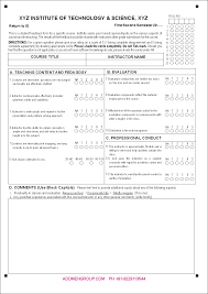 Course Evaluation Form Doc Omr Feedback Sample Instr - Pantacake