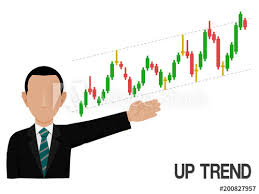 Stock Chart Up An Investor Is Presenting Up Trend Of Stock Chart Buy This