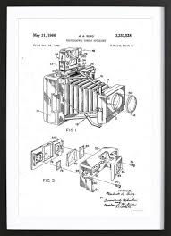 polaroid accessory patent 1966 as poster in wooden frame juniqe uk