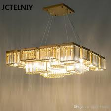 new crystal chandelier living room light luxury designer crystal lamp restaurant square profile multi level led lights diy chandelier mason jar chandelier