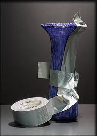 repairing glass vase with duct tape