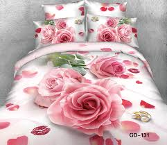 3d lips pink rose bedding set super king size queen 100 cotton bed sheets ed