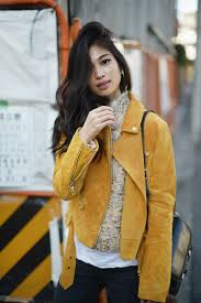 yellow h m suede biker jacket and speckle knit sweater forevervanny com