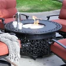 round gas firepit fire pit table with propane burner glass outdoor sets on round gas firepit