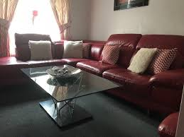 large red leather corner sofa chair