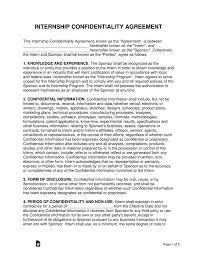 Free Internship Confidentiality Agreement Template Word Pdf