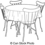 kitchen table clipart black and white. drawing of a kitchen table - vector illustration furniture,. clipart black and white