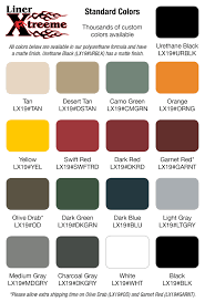 Lx Color Chart Welcome To Liner Xtreeme