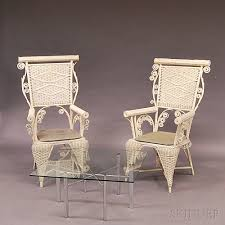 R Two Similar Whitepainted Fancy Wicker Chairs And A Midcentury Modern  Coffee Table