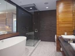 pics of bathroom designs: gray modern bathroom with soaking tub