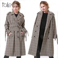 winter jacket coat women s long sleeve plaid houndstooth check wool parka trench