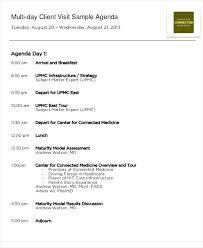 Agenda Business Visit Schedule Template Client Agenda Sample Business Plan