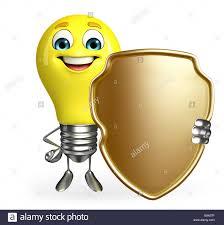 Light Bulb Shield Cartoon Character Of Light Bulb With Shield Stock Photo