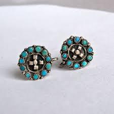 vintage zuni snake eyes earrings zuni turquoise earrings zuni petit point earrings