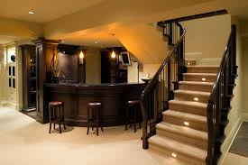 decorationastounding staircase lighting design ideas. Stunning Curved Dark Polished Counter Bar Island With Pendant Lights As Inspiring Modern Basement Man Room Ideas Added Stairs Decors Decorationastounding Staircase Lighting Design