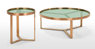 Green Coffee Tables Aula Coffee Table Brushed Copper And Green Glass Madecom