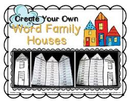 Word Families Template Word Family Houses