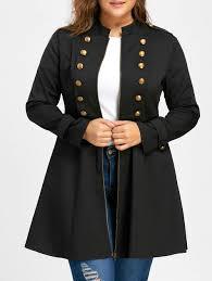 plus size parka outerwear black 5xl plus size epaulet double breasted flare coat