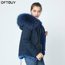2018 whole oft 2017 navy parka winter jacket coat women real fur coat parkas natural rac fur collar hooded warm soft faux fur liner from hongyeli