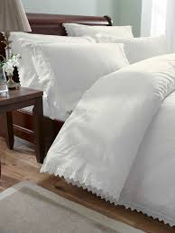 luxury percale embroidered duvet cover set balm super king white