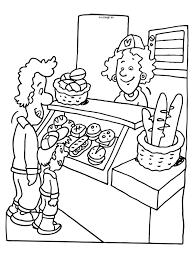 Kleurplaat Broodjeswinkel Stokbrood School Bakker Malvorlagen