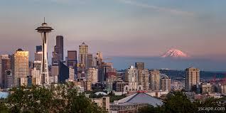 Seattle Cityscape Seattle Skyline And Mt Rainier Panoramic