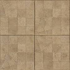 seamless texture containing square beige tiles with designs imbedded in surface