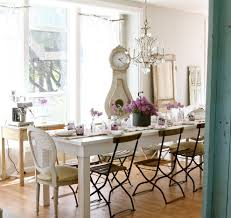 painted with all white interior color decor plus diy long reclaimed wood dining table with folding metal chairs under french country style chandeliers