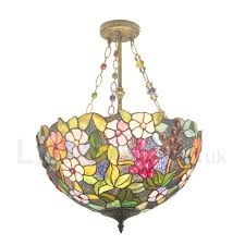 diameter 40cm 16 inch handmade rustic retro chandeliers multicolor flower pattern glass shade bedroom