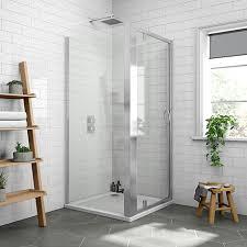 newark 900 x 900mm pivot door shower enclosure pearlstone tray