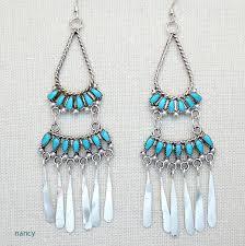 turquoise sterling silver chandelier earrings zuni made