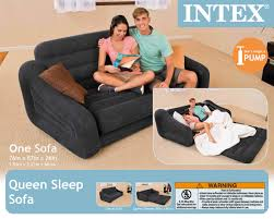 intex inflatable pull out sofa queen bed mattress sleeper w ac power air pump com